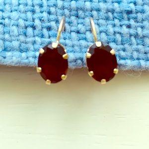 Jewelry - 14K Yellow Gold Oval Garnet Leverback Earrings